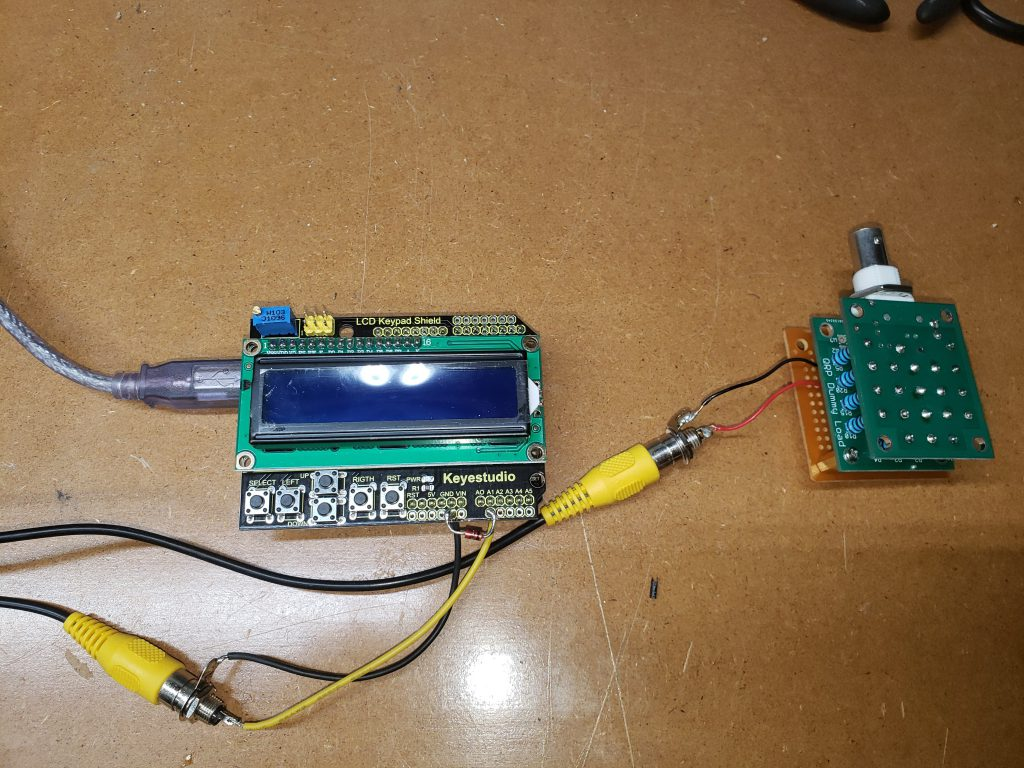 Picture of the Digital Dummy Load, including the dummy load, adapter, and display/processor