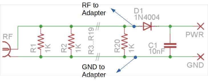 Modified QRP Labs Dummy Load Schematic